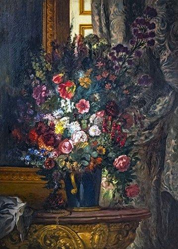 blumen-und-pflanzen - Blumenvase an der Konsole - Delacroix, Eugene