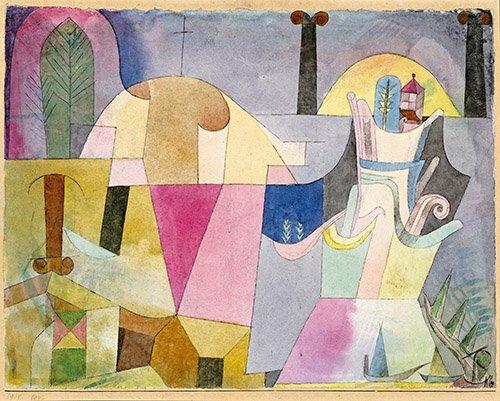 abstrakte-gemaelde - Black Columns in a Landscape - Klee, Paul