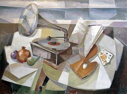 abstrakte-gemaelde - Abstrakt, Stillleben mit Grammophon - Sanchez, Fernando