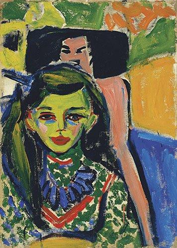 portraetgemaelde - Fränzi vor geschnitztem Stuhl - Kirchner, Ernst Ludwig