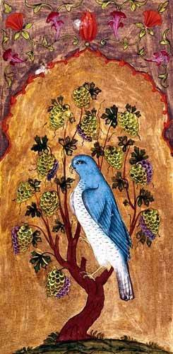orientalische-gemaelde - Halcón azul sobre una rama - _Anonym Persien
