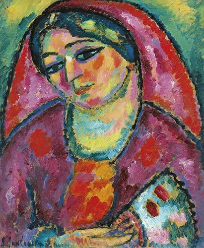 portraetgemaelde - roter Schleier - Jawlensky, Alexej von