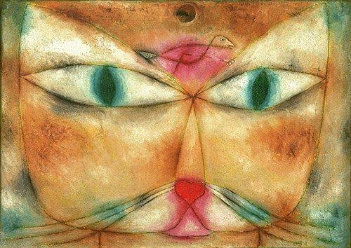 bilder-fuer-ein-wohnzimmer - Katze und Vogel - Klee, Paul