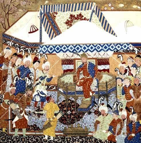 orientalische-gemaelde - La Corte Turco-Mongolia del Emperador Tamerlan - _Anonym Persien