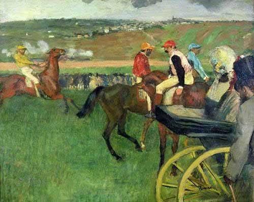 tiermalereien - l'Hippodrome Jockeys près d'un transport - Degas, Edgar