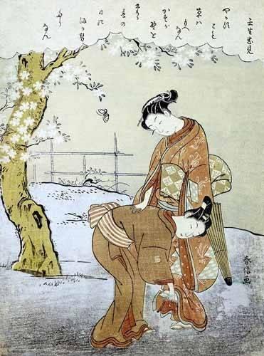 orientalische-gemaelde - Mujer y su doncella - Harunobu, Suzuki