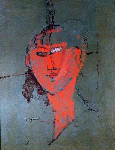 portraetgemaelde - La tête rouge - Modigliani, Amedeo