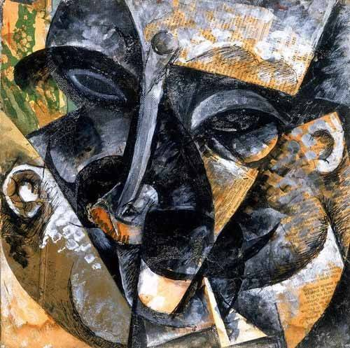 abstrakte-gemaelde - Composition avec une tête d'homme - Boccioni, Umberto