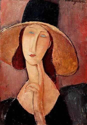 portraetgemaelde - Retrato de Jeanne Hebuterne con pamela - Modigliani, Amedeo