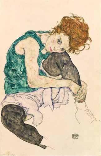 portraetgemaelde - Seated Woman with Bent Knee - Schiele, Egon
