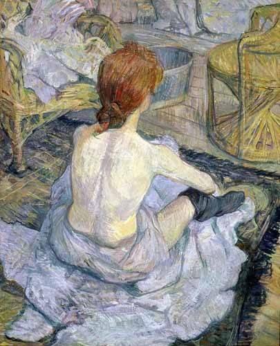portraetgemaelde - Mujer en su baño - Toulouse-Lautrec, Henri de