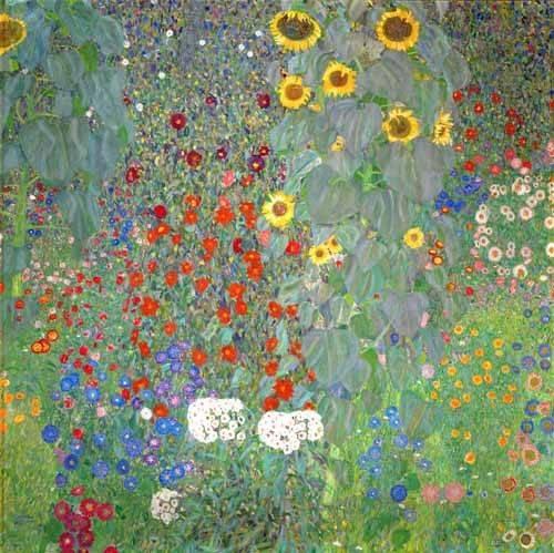 blumen-und-pflanzen - Bauerngarten mit Sonnenblumen - Klimt, Gustav