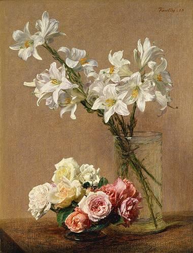 blumen-und-pflanzen - Rosas y Lilas - Fantin Latour, Henri