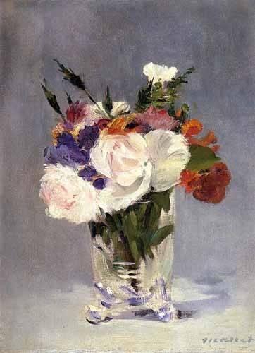 blumen-und-pflanzen - Fleurs dans un vase en verre - Manet, Eduard