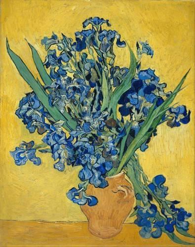 blumen-und-pflanzen - Vase mit Iris vor gelbem Hintergrund, 1890 - Van Gogh, Vincent