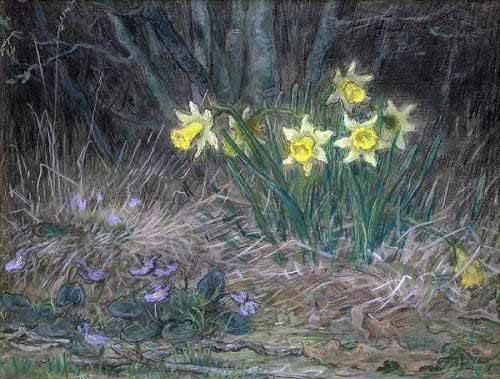 blumen-und-pflanzen - Narcisses et violettes - Millet, Jean François