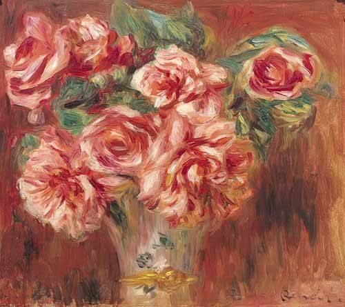 blumen-und-pflanzen - Roses dans un vase - Renoir, Pierre Auguste