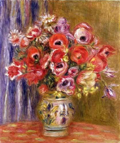 blumen-und-pflanzen - Vase de tulipes et d'anémones - Renoir, Pierre Auguste