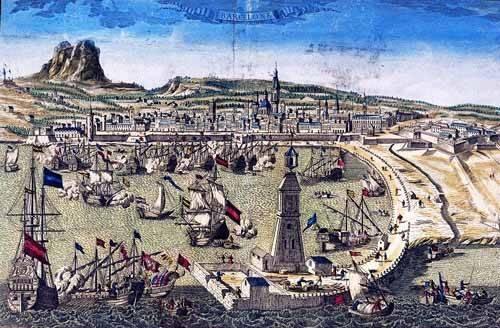 alte-karten-und-zeichnungen - Barcelona, vista de la ciudad y el puerto- Mapas - Anciennes cartes