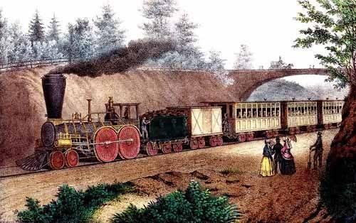 alte-karten-und-zeichnungen - El tren expresso - Currier Nathaniel y Ives James