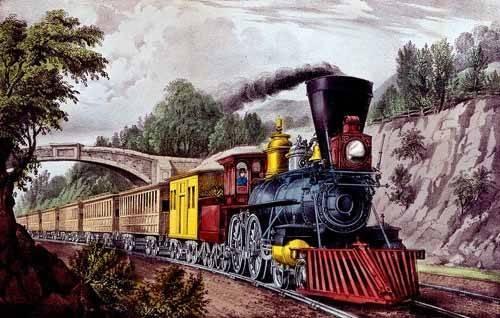alte-karten-und-zeichnungen - Tren rápido - Currier Nathaniel y Ives James