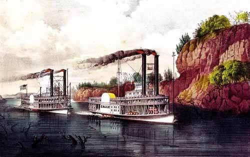 alte-karten-und-zeichnungen - Carrera de barcos de vapor en el Mississipi - Currier Nathaniel y Ives James