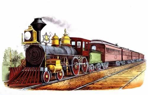 alte-karten-und-zeichnungen - Tren expresso directo - Currier Nathaniel y Ives James