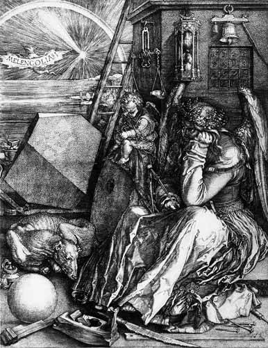 alte-karten-und-zeichnungen - Melancolía I - Dürer, Albrecht (Albert Durer)