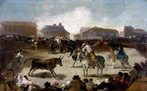alte-karten-und-zeichnungen - Toros en un pueblo - Goya y Lucientes, Francisco de