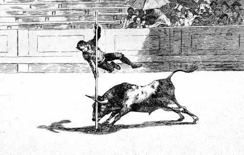 alte-karten-und-zeichnungen - Tauromaquia num. 20: Ligereza y atrevimiento - Goya y Lucientes, Francisco de