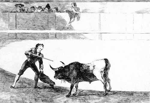 alte-karten-und-zeichnungen - Tauromaquia num.30: Pedro Romero matando a toro parado - Goya y Lucientes, Francisco de