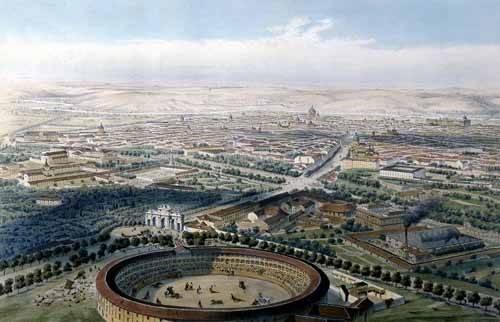 alte-karten-und-zeichnungen - Madrid vista aérea con la plaza de toros, 1854 - Guesdon, Alfred