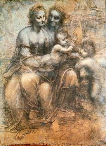 alte-karten-und-zeichnungen - La Virgen, el Niño y Santa Ana - Vinci, Leonardo da