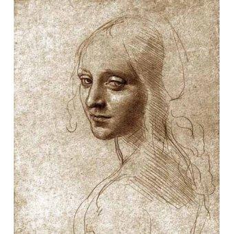 Alte Karten und Zeichnungen - Angel face of the Virgin of the Rocks - Vinci, Leonardo da