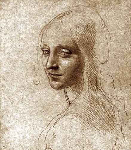 alte-karten-und-zeichnungen - Angel face of the Virgin of the Rocks - Vinci, Leonardo da