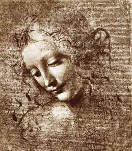alte-karten-und-zeichnungen - Tête de dame - Vinci, Leonardo da