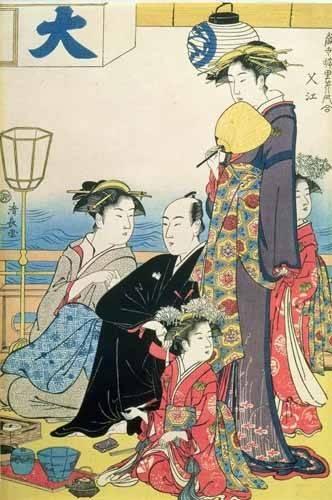 orientalische-gemaelde - Women of the Gay Quarters (right hand panel of diptych) - Kiyonaga, Torii