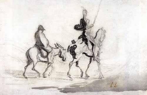 alte-karten-und-zeichnungen - Don Quichotte et Sancho Panza, 1850 - Daumier, Honoré