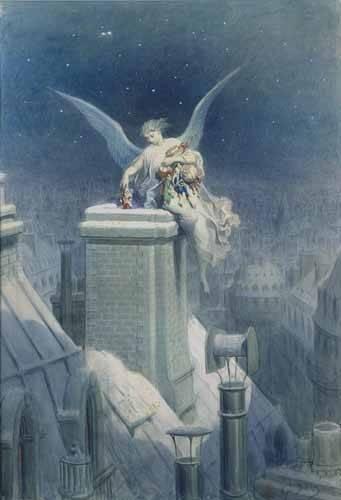 alte-karten-und-zeichnungen - Angel repartiendo regalos - Doré, Gustave