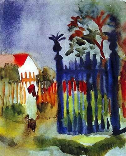 alte-karten-und-zeichnungen - La puerta del jardín - Macke, August