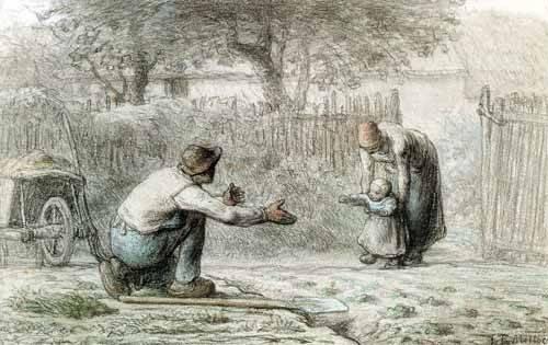 alte-karten-und-zeichnungen - Les premiers pas, 1859 - Millet, Jean François