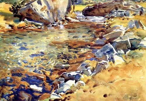 alte-karten-und-zeichnungen - Brook among Rocks - Sargent, John Singer