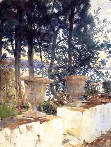 alte-karten-und-zeichnungen - Una terraza en Corfu - Sargent, John Singer