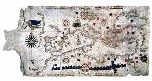 alte-karten-und-zeichnungen - Carte de la Méditerranée sur peau de bélier - Anciennes cartes