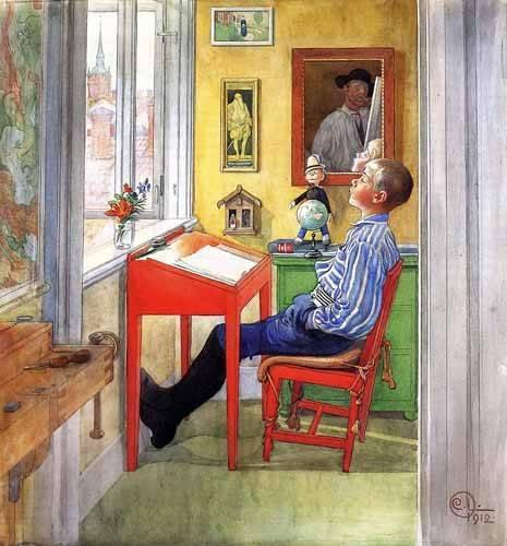 kinderzimmer - Esbjorn haciendo sus deberes - Larsson, Carl