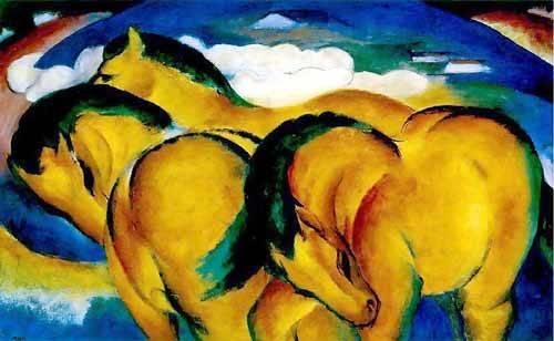 tiermalereien - Caballitos amarillos - Marc, Franz