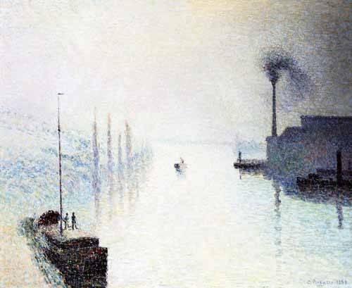 seelandschaft - Île Lacroix Rouen avec brouillard - Pissarro, Camille