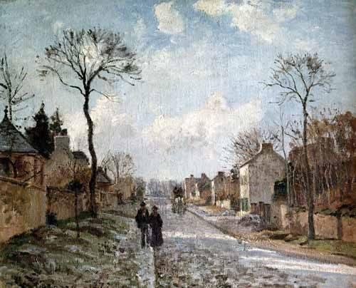 landschaften-gemaelde - Paysage d'hiver à Louveciennes - Pissarro, Camille