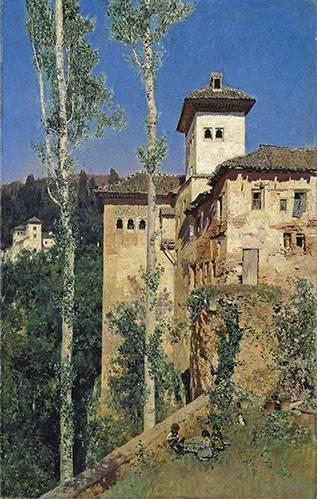 landschaften-gemaelde - La Torre de las Damas en la Alhambra - Rico y Ortega, Martin