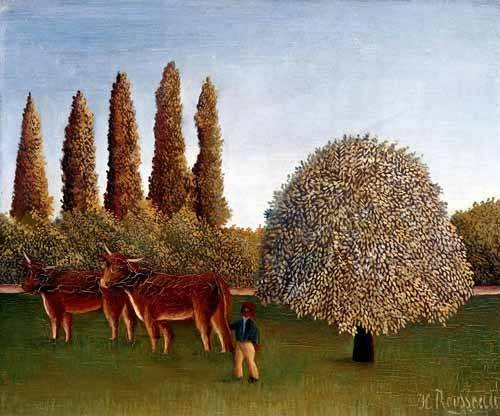landschaften-gemaelde - Paisaje con vacas - Rousseau, Henri